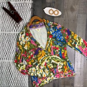Anthro HWR Monogram Floral Sweater Blazer